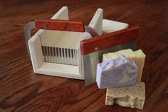 Wavy Curvy Crinkle & Flat Blade Cutter Hand Made Wooden Soap Slicer - Loaf / Miter Box with 2 Slicers Included
