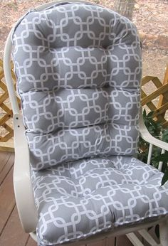 Custom Glider Or Rocking Chair Cushion Set In Grey And White Gotcha Link  Geometric, Chain