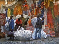 Timur Akhriev (b. 1983)- African Vendors on the Streets of Florence (2007)