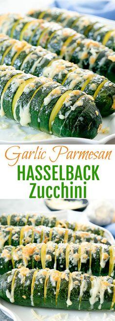 Garlic Parmesan Hasselback Zucchini. A low carb alternative to hasselback potatoes and a fun way to enjoy roasted zucchini.