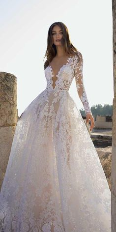 60 Trendy Wedding Dresses For 2020 ❤ trendy wedding dresses a line plunging neckline with illusion sleeves lace pnina tornai ❤ robe dresses dresses beach dresses boho dresses lace dresses princess dresses vintage Wedding Dress Necklines, Wedding Dress Sleeves, Modest Wedding Dresses, Pnina Tornai Wedding Dresses, Illusion Wedding Dresses, Wedding Dress Mermaid Lace, Wedding Dresses With Bling, Gorgeous Wedding Dress, Bridal Gowns
