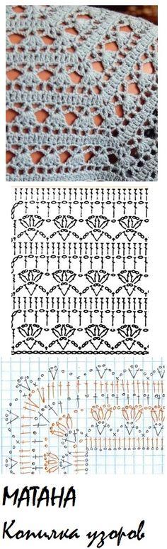 Crochet Waffle Stitch, Crochet Yoke, Crochet Bikini Pattern, Crochet Lace Edging, Crochet Diagram, Crochet Chart, Crochet Square Patterns, Crochet Stitches Patterns, Crochet Designs