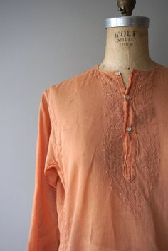 Vintage 1970s Adini tunic in light pumpkin indian cotton with tonal embroidery and small buttons. --- M E A S U R E M E N T S --- fits like:
