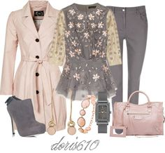 """""""Pink and grey"""" by doris610 on Polyvore"""