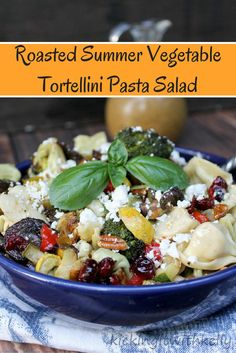 This Roasted Summer Vegetable Tortellini Pasta Salad is a twist on a classic recipe. The homemade Honey Mustard Vinaigrette dressing brings the flavor up several notches! Pasta Salad With Tortellini, Veggie Pasta, Pot Pasta, Pasta Dishes, Roasted Summer Vegetables, Eating Vegetables, Veggies, Homemade Honey Mustard, Healthy Salad Recipes