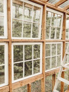 How I Built my Dream Greenhouse - Arrows & Twine Diy Greenhouse Plans, Window Greenhouse, Outdoor Greenhouse, Backyard Greenhouse, Backyard Sheds, Backyard Landscaping, Outdoor Gardens, Green Windows, Old Windows