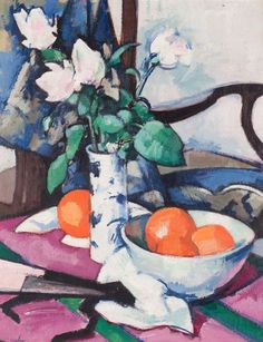 Samuel John Peploe (Scottish, 1871-1935), Still Life with Roses and Oranges. Oil on canvas, 20 x 16 in.
