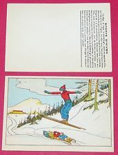 1920-1930 CHROMO GRANDE IMAGE ECOLE BON-POINT SPORTS D'HIVER SKI ALPIN BOBSLEIGH