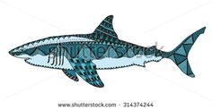 Shark zentangle stylized, vector, illustration, pattern, freehand pencil, hand drawn - stock vector