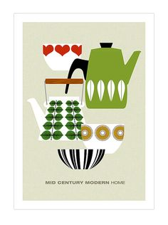 Mid Century Modern poster print retro Scandinavian cathrineholm Stig Lindberg tea coffee kitchen art - Mid Century Modern Home 1 A3 Digital print. A3 - 29.7 x 42.7 cm 11.6 x 16.5 inches *** This design is also available in a large 50 x 70 cm size *** Brighten up your wall with this mid century modern print featuring the delicious designs of Cathrineholm, Stig Lindberg and Kaj Franck. If you would like to change some of the colours then dont hesitate to contact me to discuss opti...