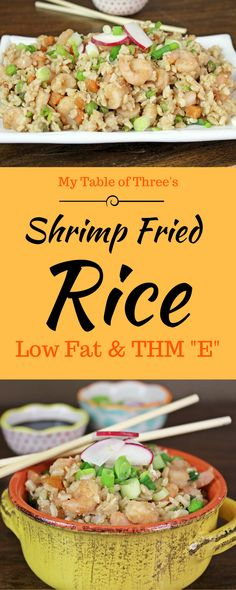 """Low Fat Shrimp Fried Rice is a quick and easy dinner. Low Fat and THM """"E"""""""