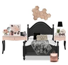 """""""rose gold/black room"""" by annieanne-tumblr13 ❤ liked on Polyvore featuring interior, interiors, interior design, home, home decor, interior decorating, Oliver Gal Artist Co., Diptyque, Natural by Lifestyle Group and Crate and Barrel"""