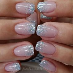 In search for some nail designs and some ideas for your nails? Here is our listing of must-try coffin acrylic nails for modern women. Glitter Tip Nails, Cute Acrylic Nails, Glitter French Manicure, Glitter Wedding Nails, Silver Sparkle Nails, French Manicure Designs, Glittery Nails, French Tip With Glitter, Black Nails With Glitter