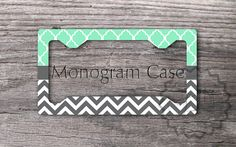 Personalized License Plate Frame - Cute Mint Trellis pattern and Charcoal Gray chevron, custom name or monogram, personalized car tag frame