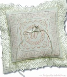 ring pillow- cross stitched