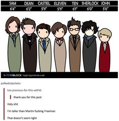 """SuperWhoLock height chart.  This fascinates me.  I'm 5'3"""".   Also, I really want John Watson and Sam Winchester to meet."""