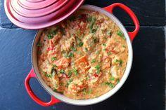 Alt-i-ett krema kyllinggryte med quinoa (lindastuhaug) Scampi, Quinoa, A Food, Nom Nom, Curry, Chicken, Cooking, Ethnic Recipes, Kitchen