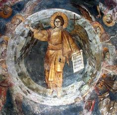 The Angel of Great Counsel in Iconography Byzantine Icons, Byzantine Art, Fresco, Faith Of Our Fathers, Christ, Angels Among Us, Art Icon, Orthodox Icons, Sacred Art
