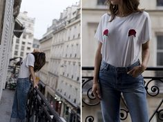 7428f62a5 aimee song of style two songs white rose tit tee plac jeans New T Shirt  Design