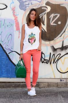 Coral Pants + Graphic Tank