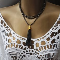 necklace long beaded necklace tassel Elegant beaded necklace beading Jewelry Handmade Modern Czech beads cotton thread black beads