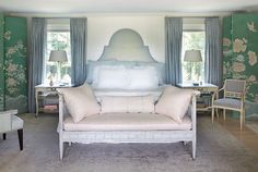 Anne Selke's master bedroom in her Lenox, Massachusetts country home. This room features two of...