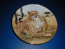 Franklin Mint Porcelain TENDER MOMENT Cheetah Mother Cat & Cub Plate (loc-15Z) Big Cats Art, Cat Art, Mother Cat, Franklin Mint, Cubs, Cheetah, Porcelain, In This Moment, Plates