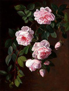 """""""Roses"""" olio su tavola Johan Laurentz Jensen (Gentofte, Danimarca 1800 - Copenhagen 1856)"""