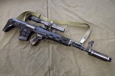 Russian SVU Bullpup Sniper Rifle with Sniper Scope. It is a variation of the SVD Dragunov sniper rifle in Sniper Rifles, Weapons Guns, Guns And Ammo, Sniper Training, Battle Rifle, Long Rifle, Bullen, Military Police, Assault Rifle