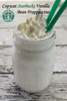 Copycat Starbucks Vanilla Bean Frappuccino! These are not only delicious but I love that you don't have to break the bank to enjoy these awesome treats! Perfect treat on a hot summer day!