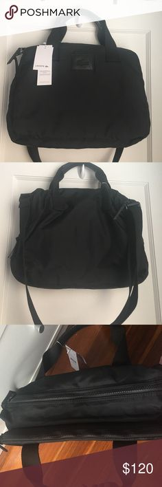Lacoste bag/brief case laptop bag nwt expandable. There is zipper on one compartment that can expand and hold more. Good computer bag. Daily commute. Lacoste Bags Laptop Bags