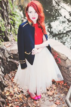 red hair + military coat + fuschia lipstick. swooning. // Sea of Shoes