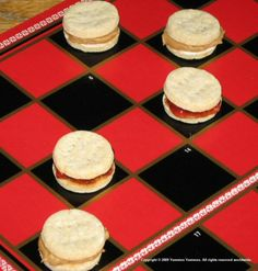 Food/Decor - peanut butter and jelly checkers; game night party