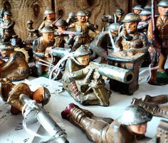 Antique Army Men - Metal Toy Soldiers
