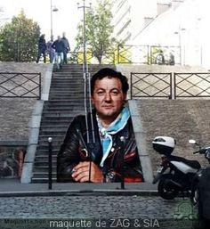 Zag and Sia, tribute to Coluche, Rue Lemaignan , 2015 3d Street Art, Street Art Graffiti, Street Artists, Thierry Noir, Mademoiselle Maurice, Art Du Monde, Best Graffiti, Sidewalk Chalk Art, Land Art