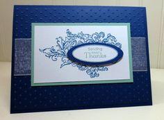 Handmade Thank You Card, Elizabeth, Thanks, Swiss Dots Embossing Folder by StampinINK