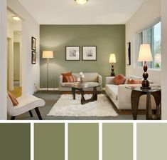 Awesome Living Room Paint Colors Ideas with Photos Beautiful small living room color schemes that will make your room look professionally designed for you that are cheap and simple to do. Living Room Color Schemes, Living Room Green, Brown Furniture, Home And Living, Living Room Designs, House Colors, Living Room Paint, Interior Design, Living Room Decor