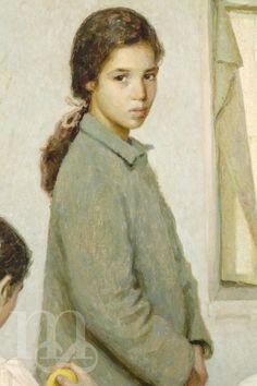 """Detalle de """"Niñas pobres"""", por Rafael Martínez Díaz. 1952."""