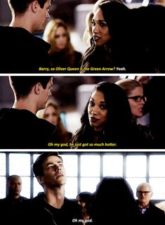 """""""Oliver Queen is the Green Arrow? Oh my God, he just got so much hotter"""" - Iris, Barry, Felicity, Stein, Sara, John and Thea #TheFlash"""