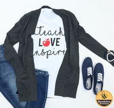 If you're wondering what to buy the favorite teacher in your life - these Teach, Love, Inspire tees are just the thing!  Super comfy and can be worn with a cardigan, flannel, or just by itself!  XS-XL