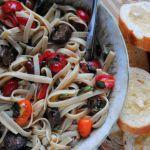 Linguine Alla Checca- made with vegan Italian sausage