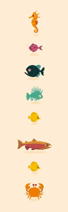 Genera Avium, Genera Piscis by Raquel Jove, via Behance Art Graphique, Illustrations, Fish Art, Grafik Design, Game Design, Vector Art, Creative Design, Cute Illustration, Art Drawings