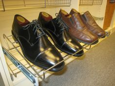 Sliding metal shoe rack from The Closet Builder.