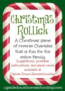 Fun 'n Games - Christmas Rollick: a fun game for the entire family {printable instructions and game cards included} Xmas Games, Holiday Games, Fun Games, Holiday Fun, Halloween Games, Halloween Party, Little Christmas, All Things Christmas, Winter Christmas