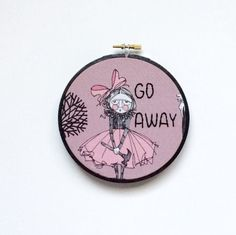 Go Away - Hand Embroidered Hoop Art - Halloween Decor - Ghastlies Fabric - Halloween Embroidery by thegirlystitch on Etsy