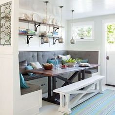 The banquette has been around for many years and has been in and out of fashion many times, but it still manages to rise to the occasion as the most popular option for dining in a small open plan kitchen-dining room, or in a larger kitchen where there is no dining room. - See more at: http://www.home-dzine.co.za/dining/dining-banquette-ideas.html#sthash.4UpSfaU3.dpuf