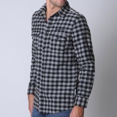 Reno LS Shirt Gray Black Check now featured on Fab.