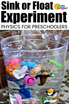Sink or Float Experiment for Toddlers and Preschoolers with a colourful twist - Happy Hooligans This beginner physics experiment is easy to set up and a fun way for tots to learn how to make predictions and observations about density and buoyancy. Toddlers And Preschoolers, Science Activities For Toddlers, Water Play Activities, Science Experiments For Preschoolers, Science For Kids, Kindergarten Activities, Preschool Activities, Kids Water Play, Dinosaur Activities