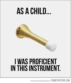 So true, my grandson plays the doorstop like a true virtuoso.