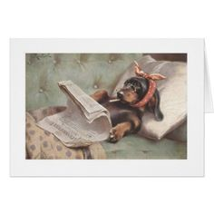 century dog art: Dachshund-smoking-reading-newspaper-in-bed-c-reichert Vintage Dachshund, Arte Dachshund, Dachshund Love, Daschund, Funny Dachshund, Animals And Pets, Cute Animals, Delphine, Weenie Dogs